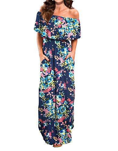 VERABENDI Women Maxi Summer Off Shoulder Beach Long Floral Dress Navy Blue - Dress Long Floral