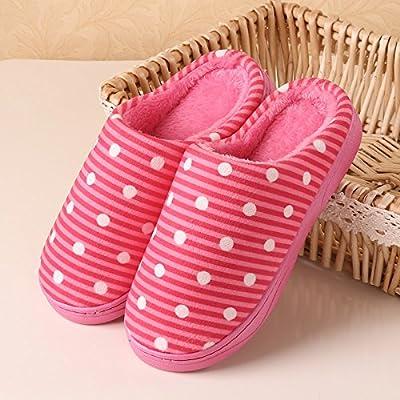 YMFIE Simple et chaleureux hiver Chaussons en coton femmes hommes accueil indoor bandes antidérapantes chaussures pantoufles