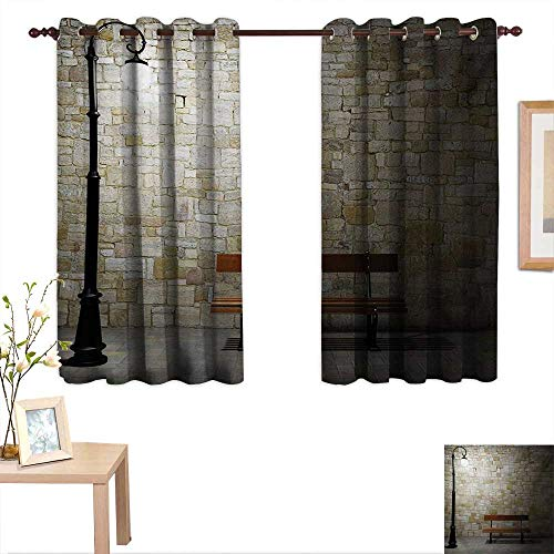 Street Waterproof Window Curtain Modern Avenue at Dark Night with a Open Lamp and Bench and Stone Wall Behind Image 55