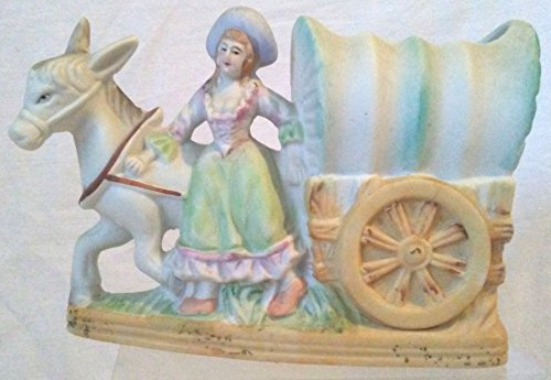 Covered Wagon Planter, Porcelain Lady and Wagon
