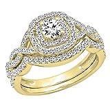 1.00 Carat (ctw) 14K Yellow Gold White Diamond Swirl Bridal Halo Engagement Ring Set 1 CT (Size 7)