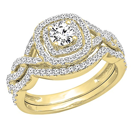 (Dazzlingrock Collection 1.00 Carat (ctw) 14K White Diamond Swirl Bridal Halo Engagement Ring Set 1 CT, Yellow Gold, Size 7)