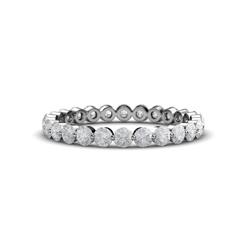 Floating White Sapphire 2.7mm Eternity Band 1.32 ct tw to 1.54 ct tw in 14K White Gold.size 8.0