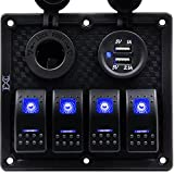 FXC Waterproof Marine Boat Rocker Switch Panel 4 Gang With Dual USB Slot Socket + Cigarette Lighter LED Light for Car Rv Vehicles Truck (4 Gang Blue Light)