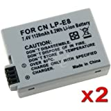 2 Canon Battery Pack For LP-E8 EOS Digital Rebel T2i