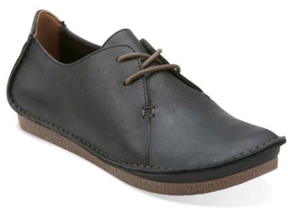 Clarks Women's Janey Mae Flat, Black Leather, 10 M US