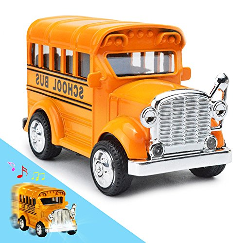 Bear Pull Toy - THREE BEARS School Bus Toy Die Cast, Classic Diecast Model Cars, Pull-Back Toy Vehicles with Lights and Sounds 1:36 scale (Yellow)