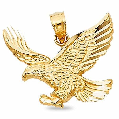 Gold Bird Charm Pendant (Solid 14k Yellow Gold Eagle Pendant Bird Charm Diamond Cut Fancy Polished Style 17 x 21)