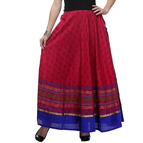 Women's dark Printed Long Pink Block Skirt freesize Hand Cotton qRZ1Yqr