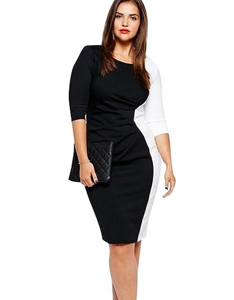 CHENGYANG Mujeres Vintage Patchwork Elegante Bodycon Negocios Lápiz Vestido Fiesta Clubwear (Negro Blanco, 5XL