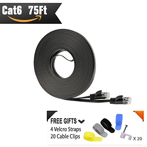 Price comparison product image Cat 6 Ethernet Cable 75 ft (At a Cat5e Price but Higher Bandwidth) Flat Internet Network Cable - Cat6 Ethernet Patch Cable Short - Black Computer Cable With Snagless RJ45 Connectors