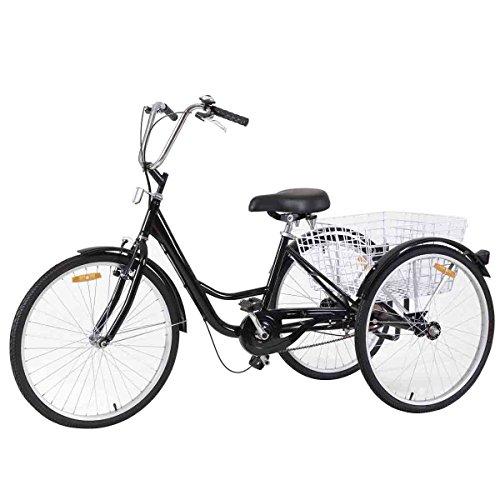 b49a8057e90 Goplus Adult Tricycle 3-Wheel Bicycle Single Speed Bike Seat Adjustable  Trike w/Bell Brake Basket. by goplus