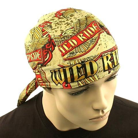 Wild Ride Eagle Biker Doorag Bandana Headwrap Headscarf Cap Hat Terry Cloth Band - Boonie Hat Terry Hat