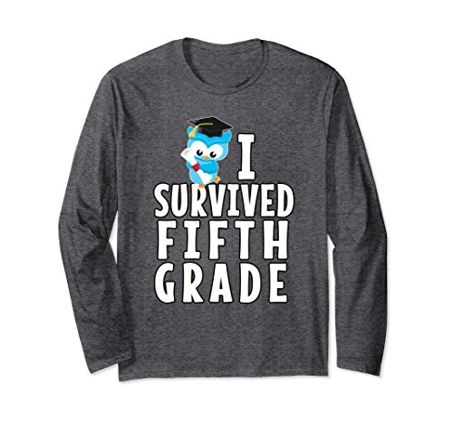 Unisex Graduation School Shirt I Survived Fifth Grade Five Owl Tee XL: Dark Heather (5th Grade Owl)