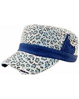 Luxury Divas Leopard Animal Print Cotton Military Cap