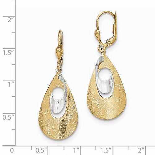 14 carats-Bicolore-brossé et poli-JewelryWeb Boucles d'oreilles pendantes dormeuses Avec boules