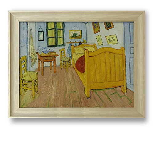 The Bedroom by Vincent Van Gogh Framed Art Print Famous Painting Wall Decor Natural Wood Finish Frame