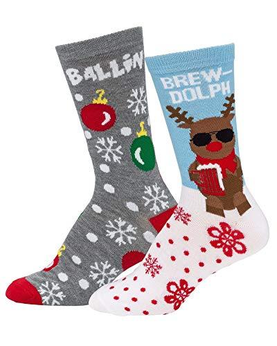 Mens & Womens Fun Novelty Holiday Christmas Hanukkah Socks- One Size Fits Most-Christmas 2 PK Crews-Brew-Dolph/Ballin' for $<!--$8.99-->