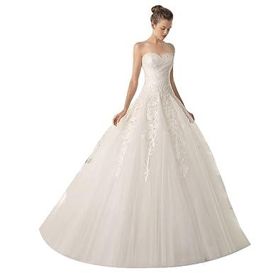 JJ GOGO Womens Lace Off Shoulder Princess Dress Bride Slim Floor Length Wedding Gown