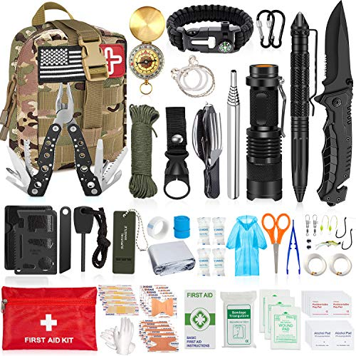 AOKIWO 126Pcs Emergency Survival Kit Professional Survival Gear Tool First Aid Kit with Molle Pouch for Camping Adventures