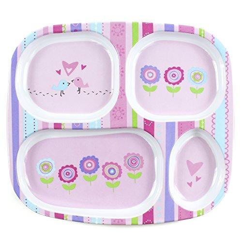 Bumkins Divided Toddler Plate (Melamine), Girl
