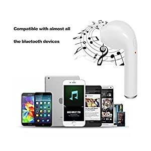 Wireless Earbuds, Mini Bluetooth Headphones HBQ I7 Twins V4.2 Car Stereo Headsets Music Earphones With Build in Mic Noise Cancelling Hand-Free Calls for iPhone 7 7Plus Andirod [Both Ears] (White)