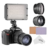 Neewer® 160 LED CN-160 LED Video Light Kit for Canon, Nikon, Pentax, Panasonic,SONY, Samsung and Olympus Digital SLR Cameras, includes (1) CN-160 Dimmable Ultra High Power Panel Video Light + (1) 52mm 0.45X Wide Angle Lens + (1) 52mm 2X Telephoto Lens + (1) Microfiber Cleaning Cloth
