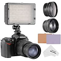 Neewer 160 LED CN-160 LED Video Light Kit for Canon, Nikon, Pentax, Panasonic,SONY, Samsung and Olympus Digital SLR Cameras, includes (1) CN-160 Dimmable Ultra High Power Panel Video Light + (1) 52mm 0.45X Wide Angle Lens + (1) 52mm 2X Telephoto Lens + (1) Microfiber Cleaning Cloth