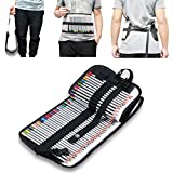 BTSKY® Stylish Washable Canvas 72 Slot Color Pencil Case, Pencil Wrap for School and Vacation New Design Can Be Fastened at the Waist