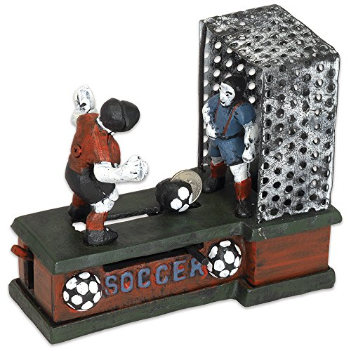 Bits and Pieces - Soccer Mechanical Coin Bank - Collectible Cast Iron Mechanical Bank - Score a Goal and Save