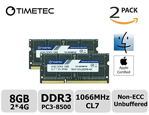 Timetec Hynix IC Apple 8GB Kit (2x4GB) DDR3 PC3-8500 1066MHz memory upgrade for iMac 21.5 inch/27 inch/20 inch/24 inch, MacBook Pro 13 inch/ 15 inch/ 17 inch, Mac mini 2009 2010 (8GB Kit (2x4GB)) - Ram & Memory Upgrades
