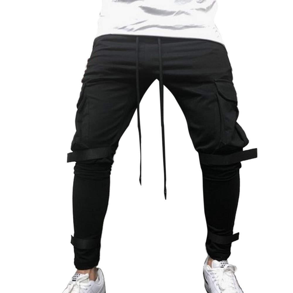 Sumen Mens Pure Color Pocket Drop Crotch Jogger Pants Harem Casual Baggy Hiphop Dance Sweatpants Black