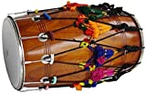 NEW PUNJABI BHANGRA DHOL DRUM~MANGO WOOD~WITH DECORATION PART~HAND MADE INDIAN