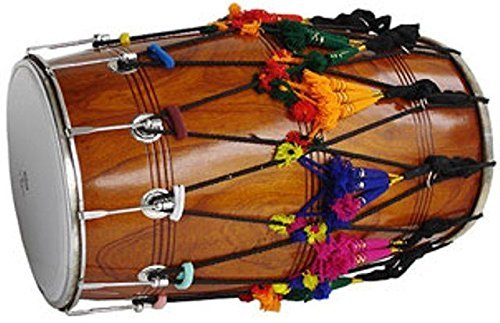 NEW PUNJABI BHANGRA DHOL DRUM~MANGO WOOD~WITH DECORATION PART~HAND MADE INDIAN by SAI MUSICAL