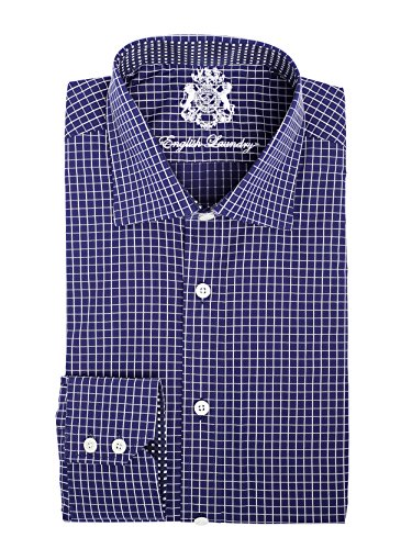 English Laundry Men's 100% Cotton Classic Fit Long Sleeve Blue Checkered Dress (English Laundry Striped Shirt)