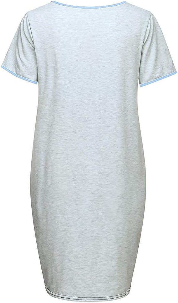 VICGREY Vestiti Premaman Donna Estate Stampa Camicia da Notte Allattamento Vestito di maternit/à Vestaglia Pigiama Gravidanza Abiti per Donna Incinta Casual Camicia da Notte Abito per Allattamento