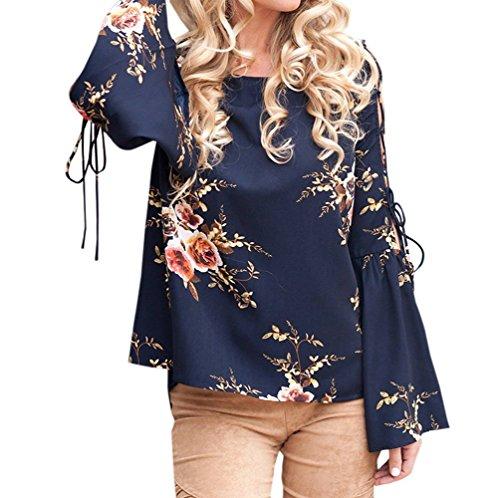 Bandage Rond Flare Shirts Femmes Onlyoustyle Fashion Col T Blouses Marin Imprim Printemps Haut et Bleu Sleeve Automne Chemisiers Casual Top w0x8zq0T