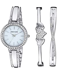 Women's AK/3355SVST Swarovski Crystal Accented Silver-Tone Watch and Bangle Set