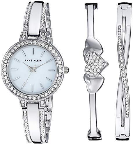 (Anne Klein Women's AK/3355SVST Swarovski Crystal Accented Silver-Tone Watch and Bangle Set )