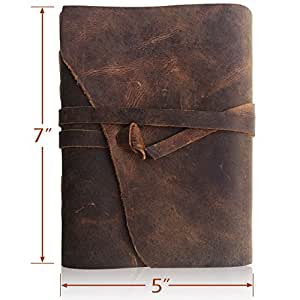 LEATHER JOURNAL Writing Notebook - Antique Handmade Leather Bound Daily Notepad For Men & Women Unlined Paper Medium 7 x 5 Inches, Perfect Gift for Art Sketchbook, Travel Diary & Notebooks to Write in