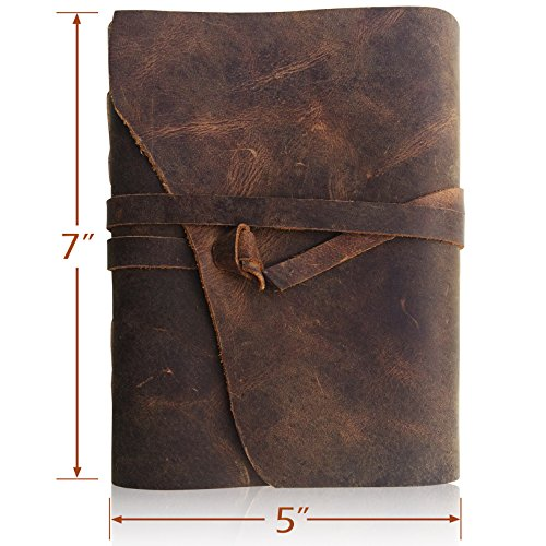 [LEATHER JOURNAL Writing Notebook - Antique Handmade Leather Bound Daily Notepad For Men & Women Unlined Paper Medium 7 x 5 Inches, Best Gift for Art Sketchbook, Travel Diary & Notebooks to Write in] (Brown Leather Journal)