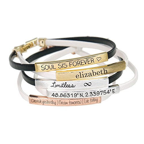 - Lauren-Spencer Customized Personalized Engraved Monogram Inspirational Bracelet, BBR235
