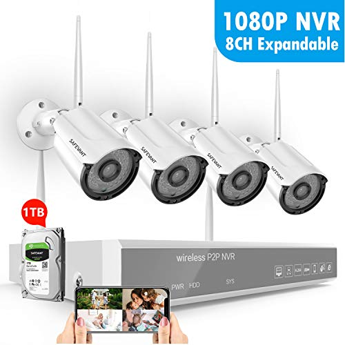 2019 New Wireless Security Camera System,SAFEVANT 1080P 8 Channel Video Security System 1TB Hard Drive ,4pcs 960P 1.3 Megapixel Indoor Outdoor Wireless IP Cameras,65ft Night Vision,P2P,Free APP