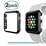 watch bumper - For Apple Watch Case -2 Pack Shock-proof and Anti-scratch Hard Rugged Protector Bumper Cover Shell Frame without Screen Cover for 42mm Apple iWatch Series 2/Series 3 Nike+ Sport ONLY