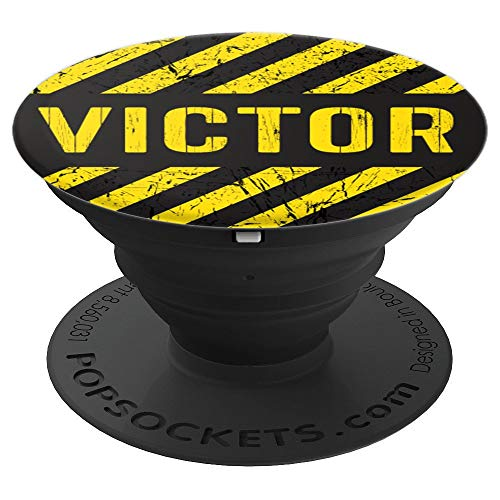 Victor Gift Construction Stripes Yellow Black Vintage Men - PopSockets Grip and Stand for Phones and Tablets