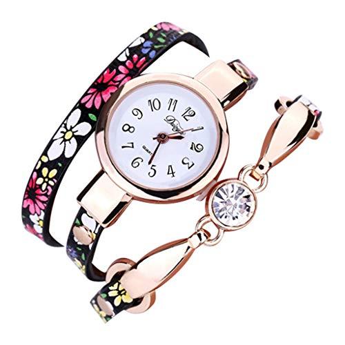 (chenqiu Fashion Leather Strap Ladies Bracelet Watch ,Women's Luxury Bracelet Watch and Swarovski Crystal Accent Bracelet Set)