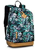 Leaper School Backpack for Girls, Cute Casual Canvas Floral Laptop Book Bag Travel