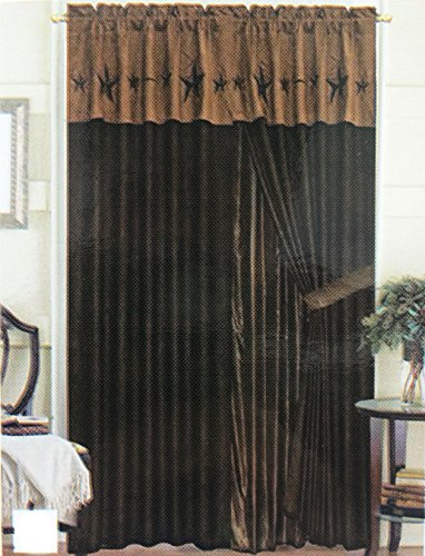 Rustic Luxury Western Star Design Embroidery Curtain Lining with Tassels (Brown Coffee)
