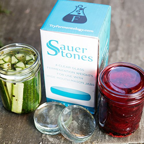 Sauer Stones - Large Glass Fermentation Weights for Mason Jar Fermentation, Preservation and Pickling - Fits ANY WIDE MOUTH MASON JAR - 4 Pack by Fermentology (Image #3)