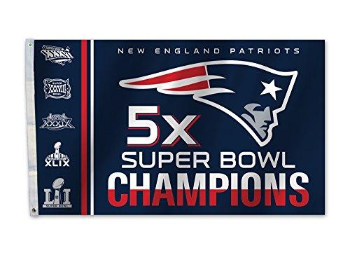 NFL New England Patriots Super Bowl 51 5x Champions 3 x 5-Foot Flag